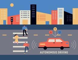 tecnologia de segurança automotiva. ao fundo da cidade, as pessoas estão cruzando na faixa de pedestres e os carros na estrada estão detectando pessoas. vetor
