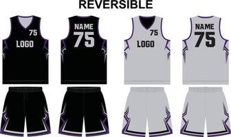 shorts de camisa de basquete reversível uniforme vetor