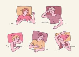 uma coleção de várias poses para dormir. as pessoas estão dormindo em várias posições. ilustrações de desenho vetorial. vetor