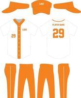 uniforme de beisebol com design de bonés vetor