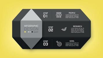 infográfico de desenho hexagonal. pode ser usado para apresentar um plano, trabalho de planejamento. vetor