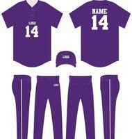 t-shirt de beisebol mock up calça e boné vetor