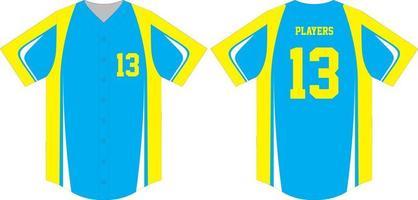 camiseta de beisebol simulada na frente e nas costas vetor