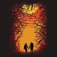 caminhada na floresta juntos. vetor premium