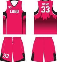 modelos de maquetes de design personalizado de uniformes de basquete vetor