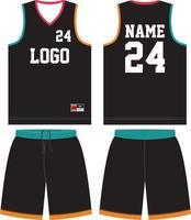 modelos de maquetes de design personalizado de uniforme de basquete vetor