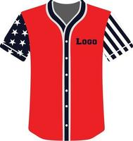 botão completo de camisas de beisebol com design personalizado vetor