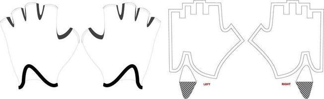 luvas de ciclismo de propulsão mock ups padrões de obras de arte vetor