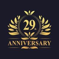 Design do 29º aniversário, luxuoso logotipo de aniversário de 29 anos de cor dourada. vetor