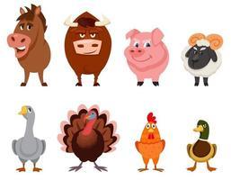 conjunto de visão frontal de animais de fazenda