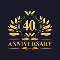 Desenho do 40º aniversário, luxuoso logotipo do aniversário de 40 anos em cor dourada. vetor