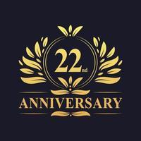 Design do 22º aniversário, luxuoso logotipo de aniversário de 22 anos em cor dourada. vetor