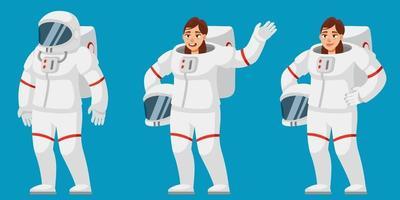 astronauta feminina em diferentes poses. vetor