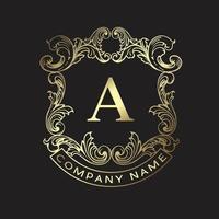 luxo vintage ornament design, monograma crest template design premium vector