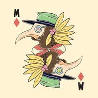 ilustração de cartão de cabeça de pássaro, desenho de tatuagem colorido com bico. vetor