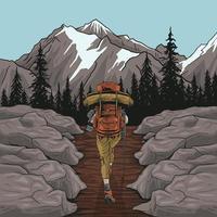 mulher alpinista, caminhando, olhando para a vista panorâmica da paisagem de montanha da folhagem de outono. vetor