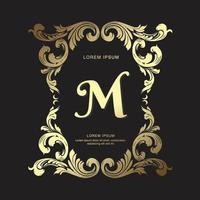 modelo de crista de design de ouro vintage ornamento real, elegante e luxuoso emblema de heráldica monograma logotipo desenho vetorial vetor