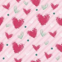formato de coração rosa e verde sem costura com padrão de ponto glitter em fundo de faixa