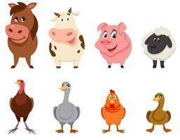 conjunto de vista frontal de animais de fazenda.