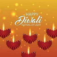 feliz desenho de banner diwali vetor