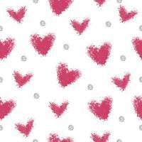 forma de coração rosa sem costura de spray com fundo de padrão de brilho de ponto prata