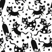 crianças sem costura de fundo padrão com mão desenhar gato preto vetor
