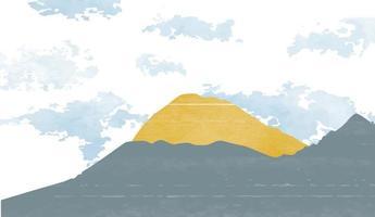 criativo minimalista pintado à mão fundo de artes abstratas. fundo de paisagem natural com estilo japonês. modelo de floresta de montanha com pintura em aquarela vetor