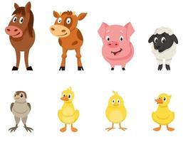 conjunto de vista frontal de animais de fazenda. vetor