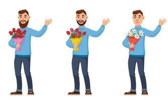 homem segurando diferentes buquês de flores. vetor