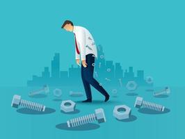 trabalhador de escritório de homem de negócios cansado com parafusos. ilustração em vetor conceito sobrecarregada