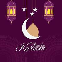 fundo islâmico ramadan kareem com lanterna vetor