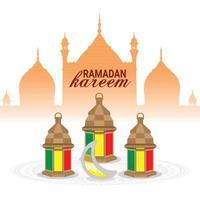 cartão comemorativo ramadan kareem ou eid mubarak vetor
