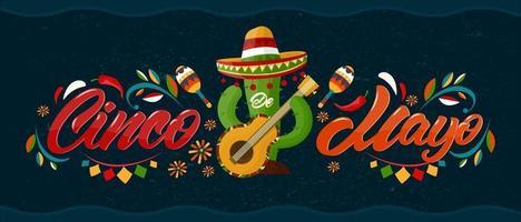 cinco de mayo com letras. 5 de maio, feriado federal no méxico. cartaz com textura grunge e cacto com guitarra e sombrero. estilo dos desenhos animados. bandeira do vetor. vetor