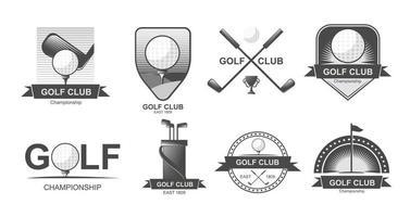 conjunto de emblemas, etiquetas, emblemas ou logotipos de golfe. lacrosse, tacos de hóquei. vetor