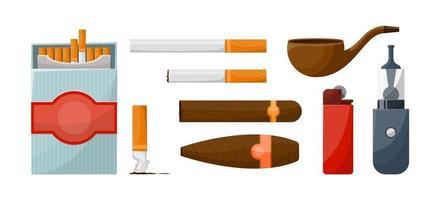 Conjunto de cigarros e diversos acessórios para fumadores. dispositivos. ilustração vetorial vetor