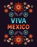 viva México. flores mexicanas coloridas, padrões e ornamert e malagueta. ilustração vetorial vetor