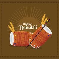 Feliz celebração vaisakhi design plano com tambor vetor