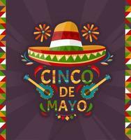 cinco de maio. 5 de maio, feriado no méxico. estilo dos desenhos animados. bandeira do vetor. vetor