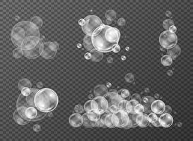 bolhas de água em estilo realista definido para chuveiro com reflexão. ilustração vetorial vetor