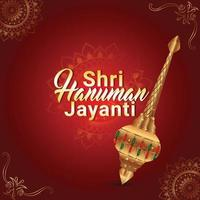 cartão de felicitações hanuman jayanti com arma hanuman vetor