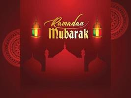 Ramadan Kareem ou eid Mubarak saudação fundo vetor