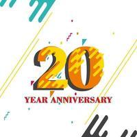 20 anos de aniversário definido ilustração de design de modelo vetorial vetor
