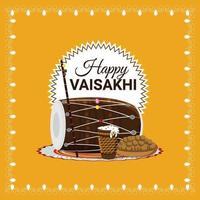 feliz celebração do design plano vaisakhi vetor