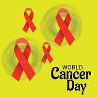ilustração em vetor de um plano de fundo para a fita de conscientização do dia mundial do câncer.