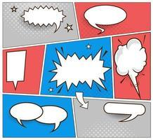 conjunto de bolha do discurso em quadrinhos definido com sombras pretas de meio-tom. vetor