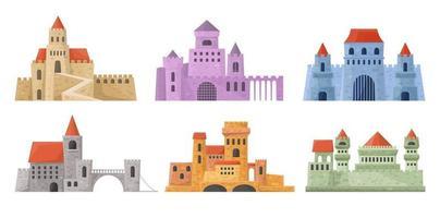 conjunto de torres do castelo. palácio medieval em estilo cartoon. fortalece a coleção de edifícios em vetor. vetor