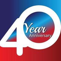 Ilustração de design de modelo de vetor de logotipo de aniversário de 40 anos