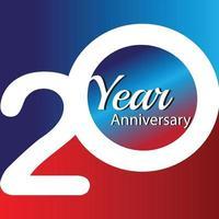 Ilustração de design de modelo de vetor de logotipo de aniversário de 20 anos