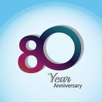 80 anos de aniversário logotipo vetor modelo design ilustração azul e branco