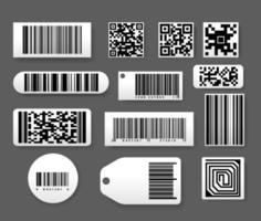 grande conjunto de etiquetas de código de barras com estilo 3D realista. adesivo, etiqueta de barra digital e barras de preços de varejo, código QR em fundo isolado vetor